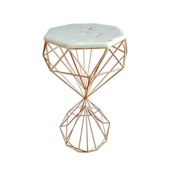 Стол декоративный камень/золото H85 D40