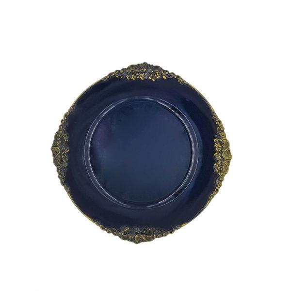 тарелка черная золото